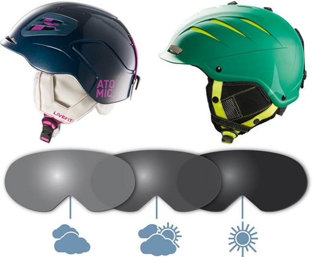 De lenzen van de skibril worden donkerder of lichter afhankelijk van het weer, copyright foto: Atomic