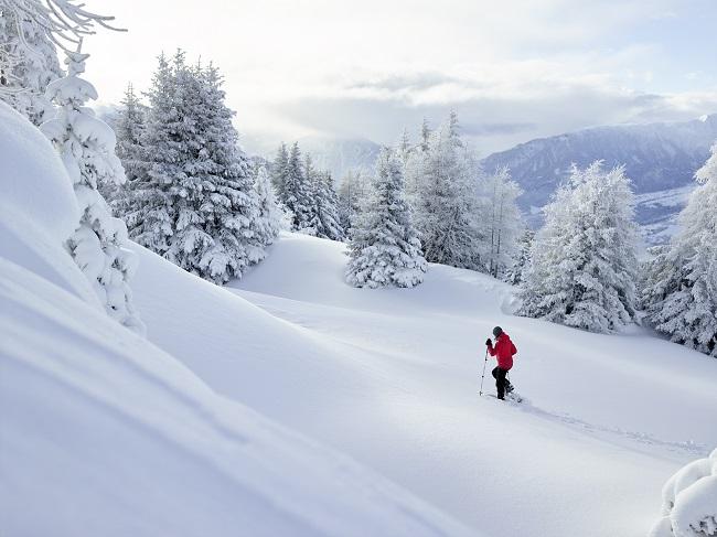 Schneeschuhwandern in Feldis, Graubünden, Schweiz